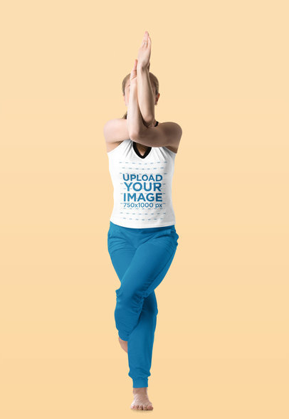Tank Top Mockup Featuring a Woman in a Yoga Pose 38277-r-el2