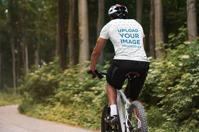 Back-View T-Shirt Mockup of a Man Riding His Bike 38249-r-el2