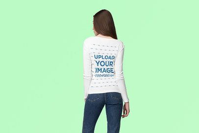 Back View Mockup of a Long-Haired Woman Wearing a Long Sleeve Tee at a Studio 4738-el1