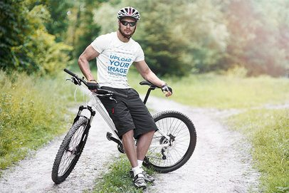 T-Shirt Mockup of a Man Riding His Mountain Bike 38256-r-el2