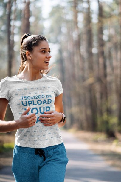 Heather T-Shirt Mockup of a Woman Running in the Woods 38171-r-el2