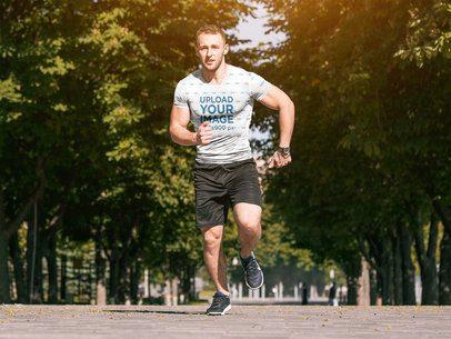Sublimated T-Shirt Mockup of a Man Sprinting 38085-r-el2