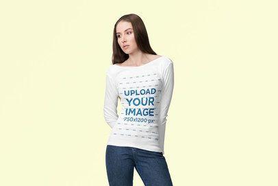 Mockup of a Young Woman Wearing a Long Sleeve Tee at a Studio 4739-el1