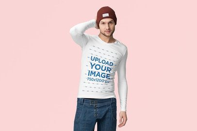 Long Sleeve Tee Mockup of a Man Posing Against a Plain Backdrop 4742-el1