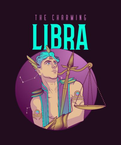 Fantasy T-Shirt Design Creator with a Libra Character Graphic 2655b