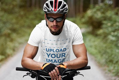 T-Shirt Mockup Featuring a Male Cyclist 38258-r-el2
