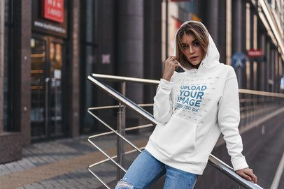 Mockup of Trendy Woman Posing with a Hoodie in the City 4781-el1
