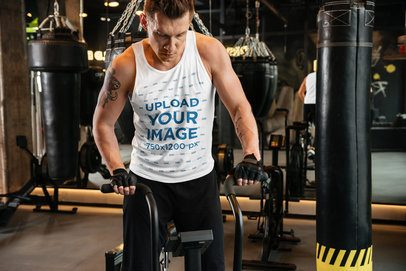 Mockup of a Man Wearing a Tank Top at the Gym 38061-r-el2
