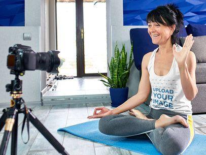 Tank Top Mockup of a Woman Recording a Yoga Vlog 37391-r-el2