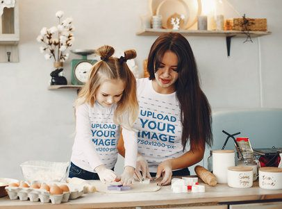Long Sleeve Tee and T-Shirt Mockup of Mother and Daughter Making Cookies 37511-r-el2