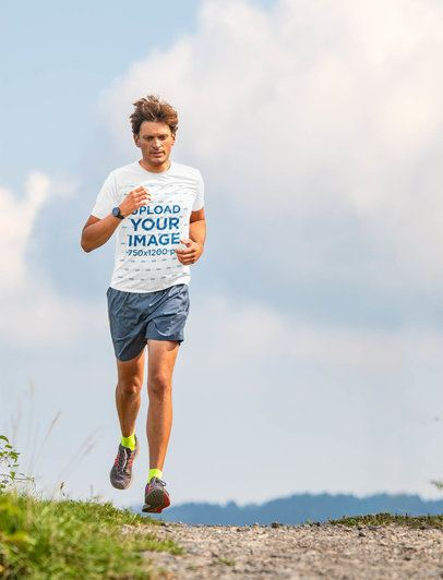 T-Shirt Mockup of a Male Runner Training Outdoors 38306-r-el2