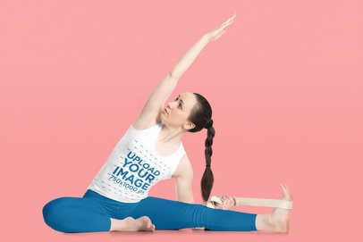 Tank Top Mockup of a Long Haired Woman Doing Yoga 38275-r-el2