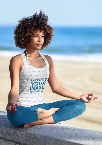 Tank Top Mockup of a Woman Meditating at the Beach 38197-r-el2