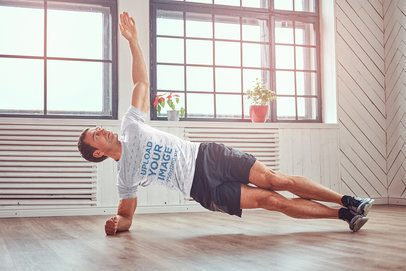 Heathered T-Shirt Mockup of a Man Doing a Side Plank 37698-r-el2