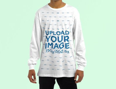 Cropped Face Mockup of a Man Wearing a Customizable Sweatshirt at a Studio 4462-el1