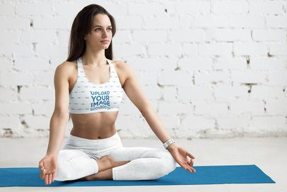 Sports Bra Mockup of a Woman Doing Yoga in a White Room 37273-r-el2