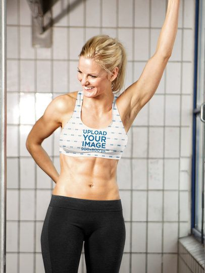 Sports Bra Mockup Featuring a Fit Woman Smiling 37233-r-el2