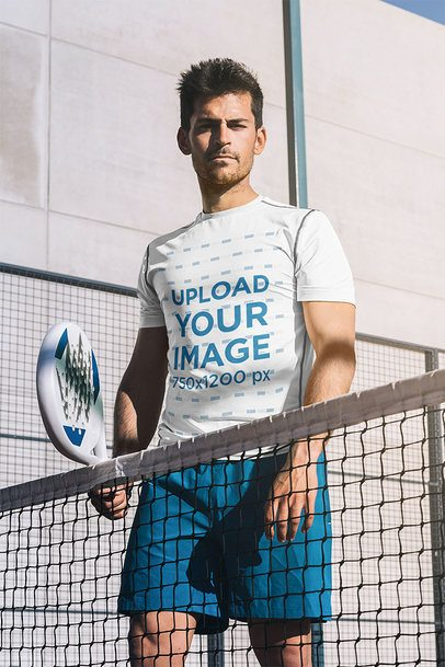 Activewear Shirt Mockup of a Serious Man at a Tennis Court 37975-r-el2