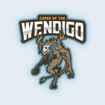 Gaming Logo Generator Featuring a Wendigo Clipart 3376c