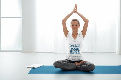 T-Shirt Mockup of a Middle-Aged Woman Practicing Yoga 37078-r-el2
