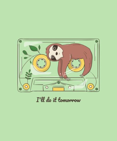 Sweet T-Shirt Design Maker with a Sloth in a Cassette Tape 1942a