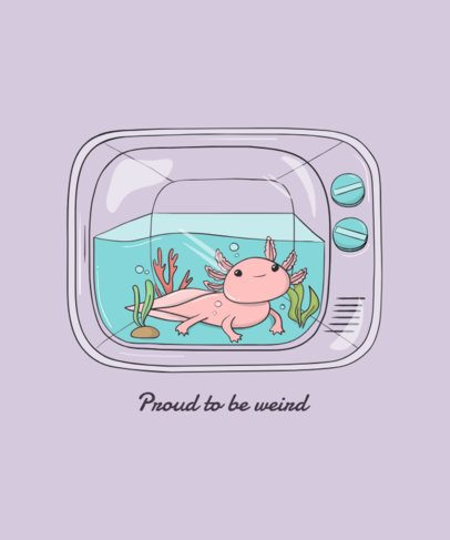 Cute Animal T-Shirt Desingn Maker with an Axolotl Illustration 1942c