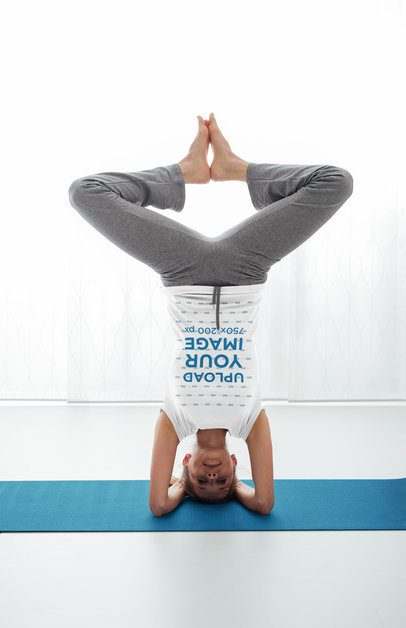 T-Shirt Mockup of a Woman Doing a Headstand 37077-r-el2