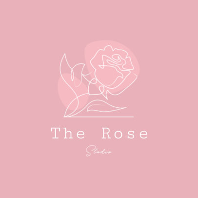 Logo Creator for a Flower Shop Featuring a Continuous-Line Rose Drawing 3373c