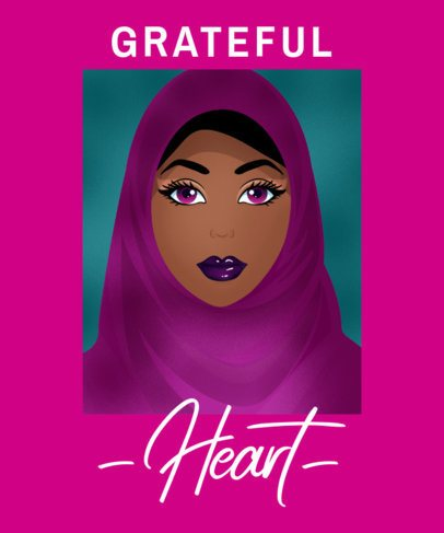 Illustrated T-Shirt Design Creator Featuring a Woman Wearing a Hijab 2634e