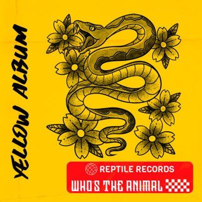 Tattoo-Style Design Template for al Album Cover Featuring a Tattoo Snake 2626b