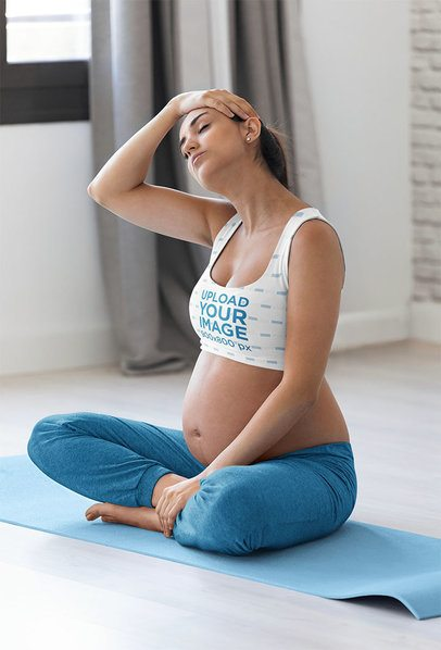 Mockup of a Pregnant Yogi Wearing a Sports Bra 37303-r-el2