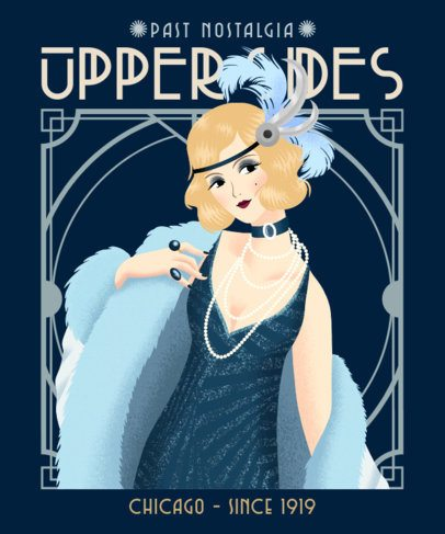Illustrated T-Shirt Design Maker Featuring a Woman in a 20's Outfit 2623c