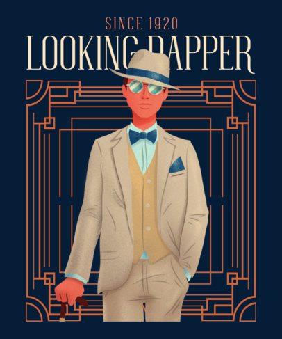 Art Deco-Style T-Shirt Design Maker Featuring a Gentleman Graphic 2623f