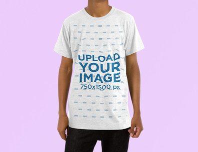 Mockup of a Man Wearing a Heathered Crew Neck T-Shirt at a Studio 4466-el1