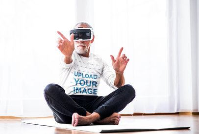 Long-Sleeve Mockup of a Senior Man with a VR Headset 37386-r-el2
