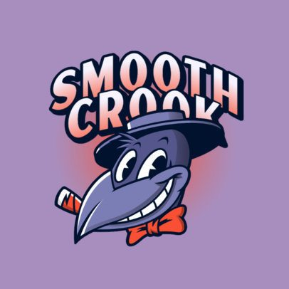 Gaming Logo Creator with a Smoking Crow Cartoon Character 3377d