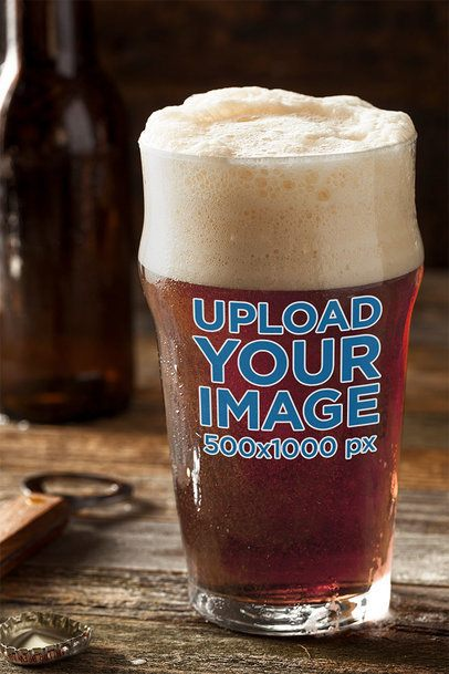 Mockup of a Beer Glass Placed on a Wooden Table 35498-r-el2