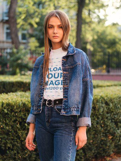 T-Shirt Mockup of a Woman Posing at a Park 38697-r-el2