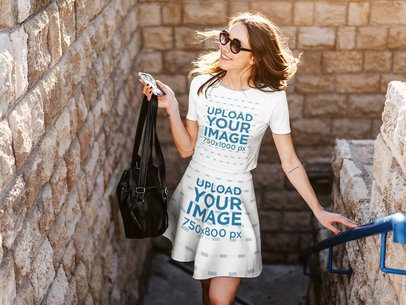 Mockup of a Woman Wearing a T-Shirt and a Skirt 38669-r-el2