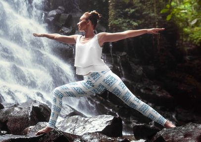 Leggings  Mockup of a Woman Doing Yoga by a Waterfall 38467-r-el2
