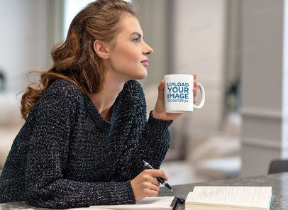 Mockup of a Woman with an 11 oz Coffee Mug Reading in the Kitchen 38183-r-el2