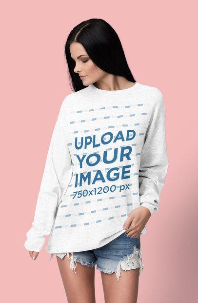 Crewneck Sweatshirt Mockup of a Woman Posing Against a Plain Color Backdrop 4790-el1