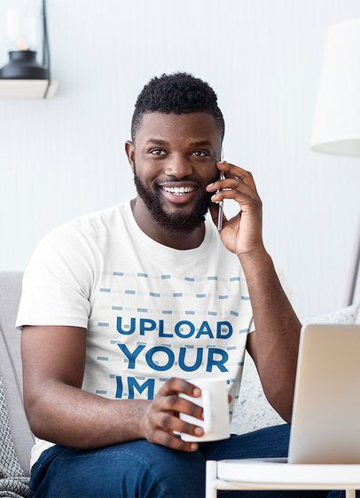 T-Shirt Mockup of a Man Working from Home 37902-r-el2