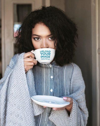 24 oz Mug Mockup of a Woman Drinking Tea at Home 38274-r-el2