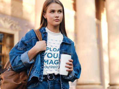 T-Shirt Mockup of a Stylish Young Woman on the Street 38710-r-el2