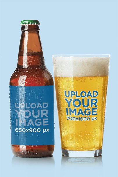 Mockup of a Beer Bottle and Glass with a Plain Background 35500-r-el2