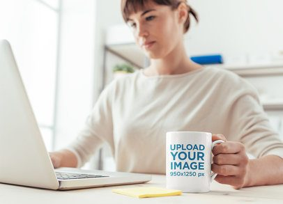 11 oz Mug Mockup of a Woman Working From Home 37860-r-el2