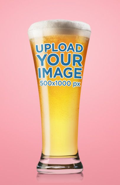 Beer Glass Mockup Featuring a Plain-Colored Background 35536-r-el2