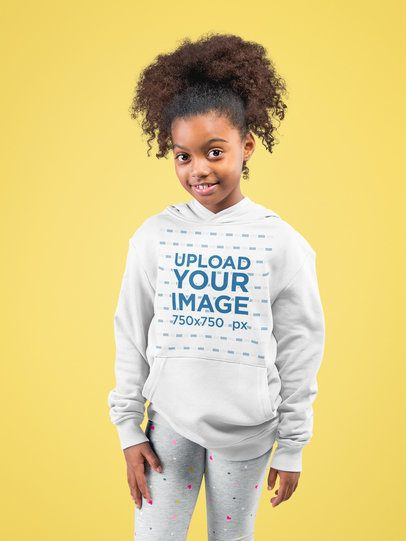 Pullover Hoodie Mockup of a Little Girl Posing at a Studio 24859