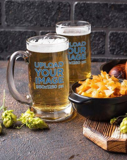 Mockup of Two Beer Glasses Featuring a Bowl of Food 35950-r-el2